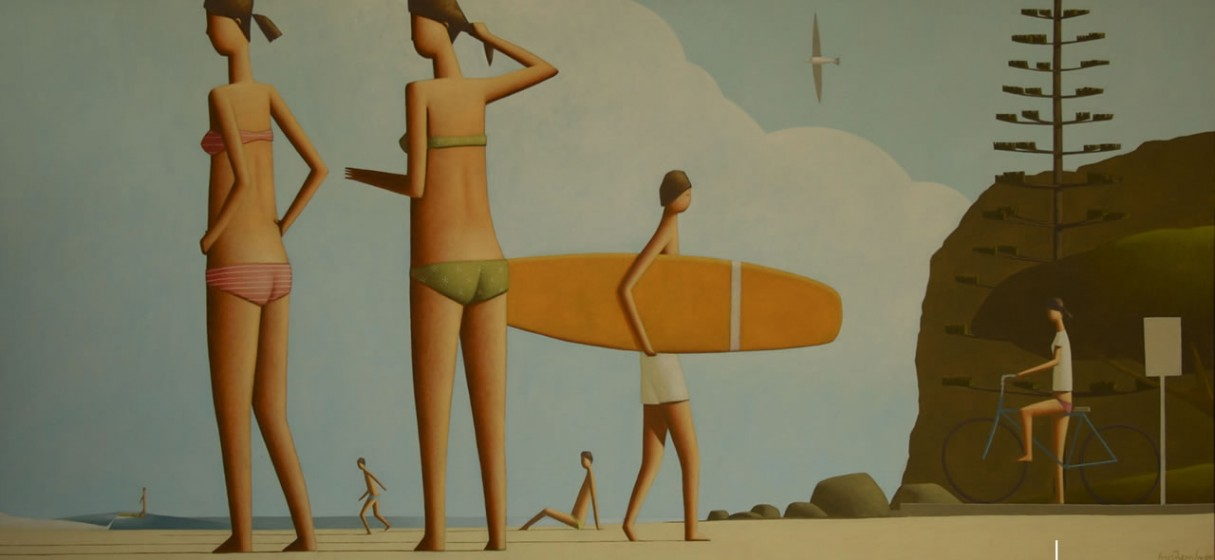 Tuesday Beach Painting 140 x 70cm